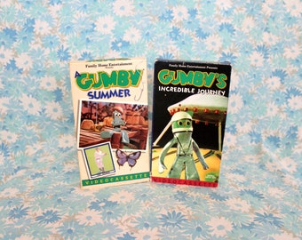 Gumby Vintage VHS Movie Tapes. Original 60s Animated Gumby 2 VHS Set. 60s Gumby TV Show Vhs Set. Claymation Childrens Kids Vhs.