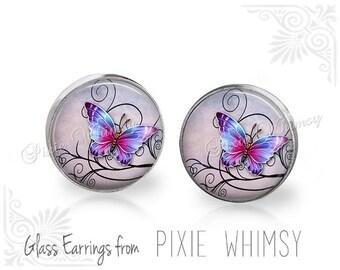BUTTERFLY Earrings, Butterfly Jewelry, Butterfly Stud Earrings, Butterfly Post Earrings, Stud Earrings, Butterfly Pierced Earrings, Insect