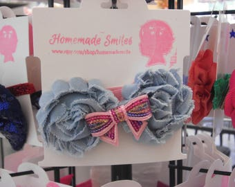 Denim Shabby Flowers Headband