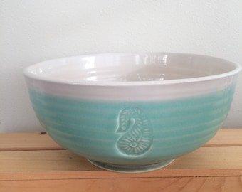 Pottery Bowl, Ceramic, Paisley Bowl, Handmadel, Pottery Serving Bowl, Gift for Foodie, Gift for Cook,Hostess Gift, Ready to Ship