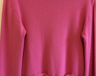 1960s funnel neck pink wool sweater