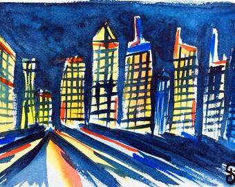 Original watercolor, Manhattan skyline, New York City, original painting, watercolor, New York, Manhattan, Skyline, art, painting