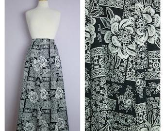 Vintage Black + White Floral Lace Maxi Skirt L/XL