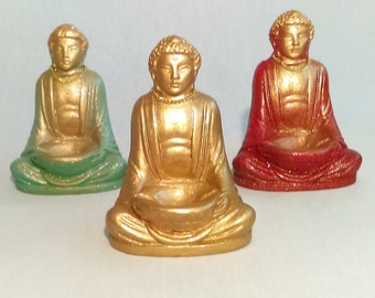 Incense burner/Golden Buddha.  5 inches tall, felt base.