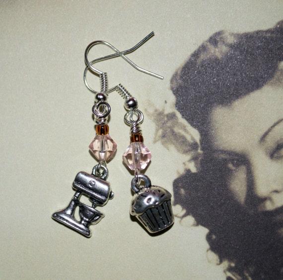 Baking Earrings, Drop Earrings, Cake Earrings, Gift for Baker, Mismatched Earrings, Bake Off Jewelry, Cake Charm Earrings, Quirky Jewelry,