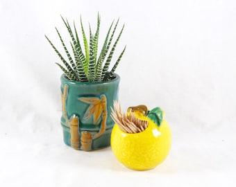 Toothpick Holder Lemon Yellow Fruit Ceramic Japan