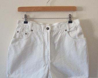 Vintage J.F.GEE White Denim Shorts, Size S-M