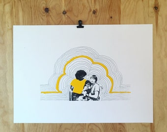 Screenprint // Family // Yellow / Black / White