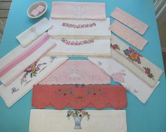 13 Towels Destash Lot Fingertip Guest Pink Accents Linen Cotton Hand Embroidered Appliqué Tatting Lace Cross Stitch Vintage c.1930s
