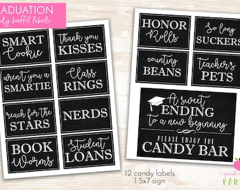 Graduation Candy Labels - Printable Graduation Party - Candy Buffet / Candy Bar - Grad Party Candy Labels - INSTANT DOWNLOAD