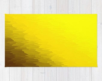 Area Rug, Yellow Rug, Yellow Area Rug, Yellow Texture Ombre Rug, Yellow Decorative Rug, Woven Area Rug, 2x3 Rug, 3x5 Rug, 4x6 Rug