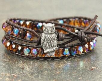 Owl Bracelet Topaz Amber Owl Jewelry Colorful Double Leather Wrap Bracelet Owl Gift
