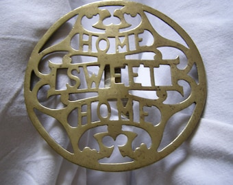 Rare Antique  Hinged  Brass Trivet   HOME SWEET HOME     late 19th century.