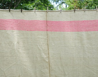 Vintage Wool Throw Blanket - Woven Wool Blanket - French Canadian Blanket - BEIGE  with PINK Stripes - 73 in. X 87 in.
