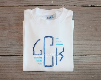 Personalized Monogram Stitch Shirt or Bodysuit, Monogrammed Initial Tshirt, Tone on Tone color Monogram Shirt, Children Monogram Shirt