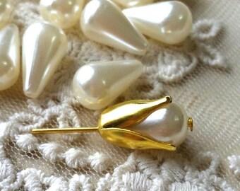 8 x 13 mm Tear Drop Beige Color Pearl Beads (.mn)