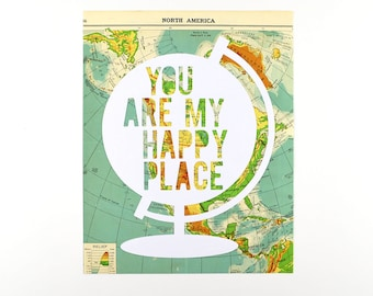 Long Distance Relationship Christmas Gift Under 50, One of a Kind Travel Themed Gallery Wall Art, Wanderlust Gift, You Are My Happy Place