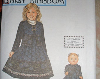 "NIP Daisy Kingdom dress pattern by Simplicity for girls size 3-6 and 18"" doll"