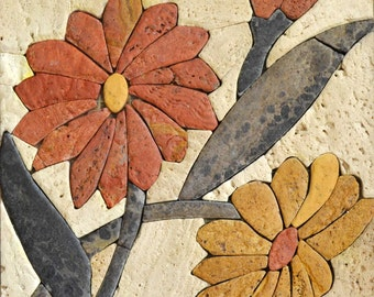 Floral Stone Tiles Mosaic