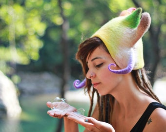 Fairy queen Felt hat Woodland fairy costume Pixie festival clothing Best gift ideas for her Goa festival clothes Clothing burning man