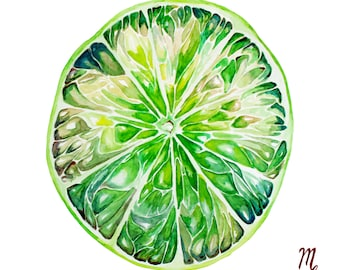 Citrus Art Print | Art For Kitchen | Fruit illustration | Lime Art Print | Kitchen Decor | Kitchen Art Print | Food Illustration | Lime