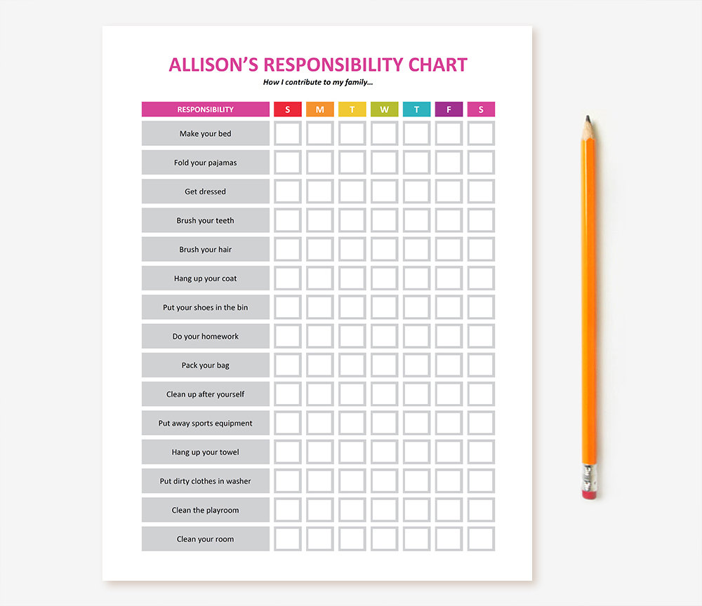 This is an image of Revered Children's Chore Chart Printable