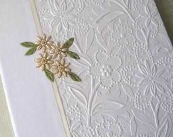 Wedding Photo Album, White Floral with Ivory Handstitched Beaded Daisies, Custom Photo Album, 8x10