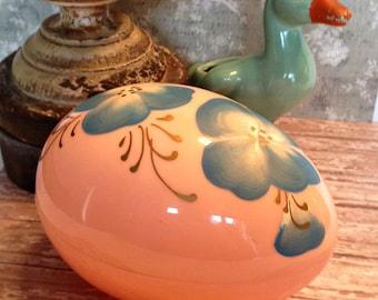 Vintage Large Easter Egg, Pink Plastic with Blue Painted Floral Decoration