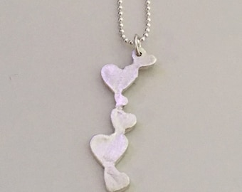 Hearts in a row, pendant necklace, fine silver with sterling silver chain