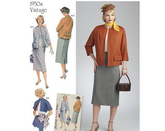 Simplicity Pattern 8464  50's Misses' Vintage Skirt and Lined Jacket in Two Lengths Plus Size16-24 (Envelope damaged)