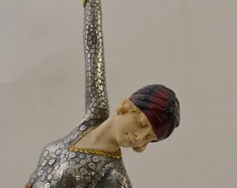 Erte' style Art Deco statuette, unsigned