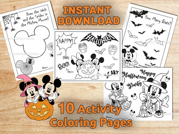 Mickey & Minnie Mouse HALLOWEEN Coloring Pages / Activity