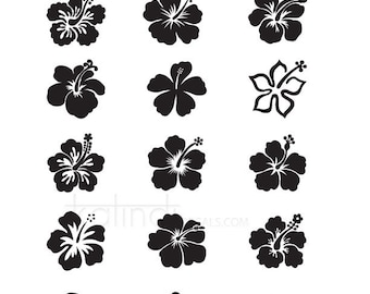 Hibiscus SVG files, 15 Hibiscus vector files, 1 PNG 300dpi  instant download, Hibiscus Printable,  Id#FL1