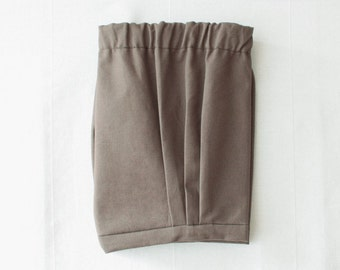 Baby boy shorts, baby boy wedding outfit in tobacco brown, retro style ring bearer bloomer shorts for boys & toddler boys