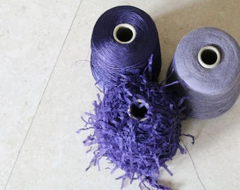 Set of three luxury Italian fancy yarns.Yarns on cone,knitting yarns,weaving yarns,fibre,textile wool,fancy yarns,purple yarns,crochet yarns