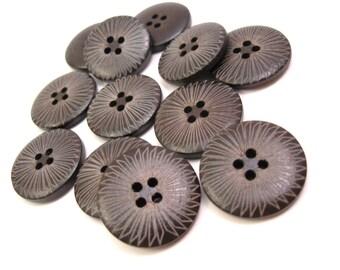 Bouton de bois foncé de 2.5cm - ensemble de 6 boutons en bois naturel - Rayon de soleil