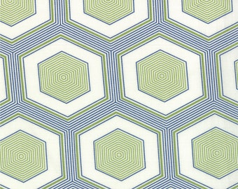 SALE - Moda Fabric  - Simply Style - V and Co - 10810 19 -  Green/Navy - Cotton fabric by the yard(s)