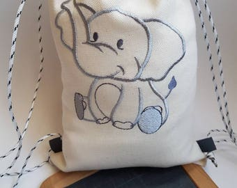 Backpack style tote bag for kindergarten - toy bag - my little elephant