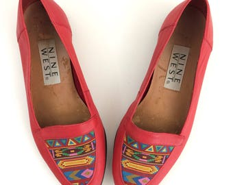 Vintage Red Leather Southwest Multicolor Design Slip On Flats