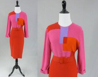 80s Knit Dress - Pink Red Orange Purple Color Block - Stretchy Red Belt - Vintage 1980s - M L