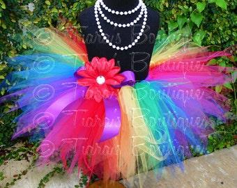Birthday Tutu - Red Orange Yellow Green Blue Purple Pink - Circus Tutu - Sewn Tutu 11'' Pixie - up to size  5T - Clown Photo Prop