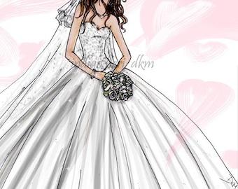 Custom Bridal Fashion Illustration, bride personalized sketch, wedding gown sketch, wedding gifts, Gifts for brides, Custom Gifts for her