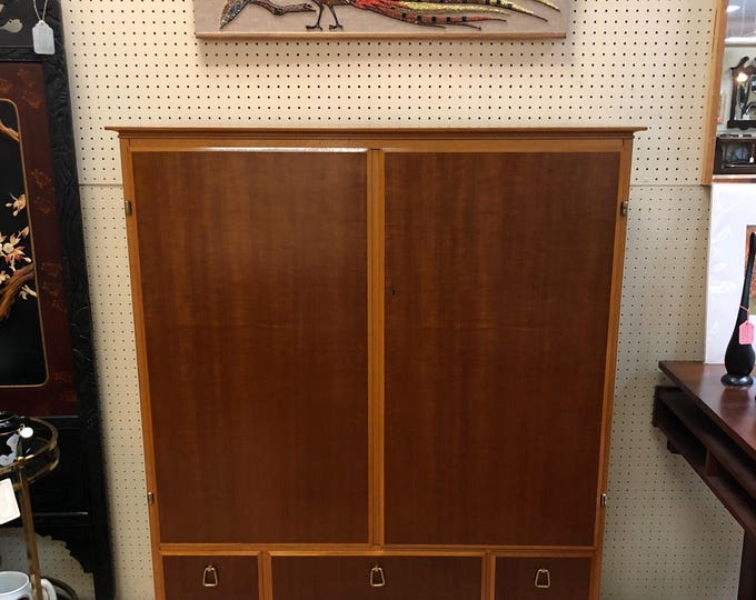 1950s Mid Century Swedish Modern Teakwood and Maple Locking Armoire / Cabinet with Interior Shelving, Drawers, Key