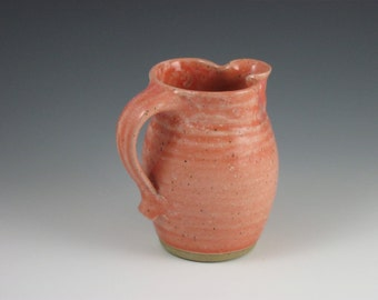 Glossy Coral Maple Syrup Pitcher