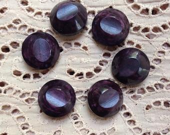 6 vintage grape purple metal shank buttons c1940s