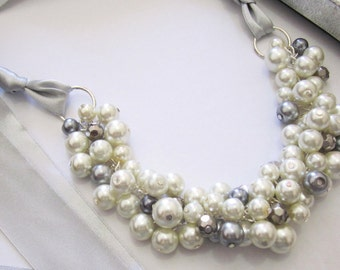 Ivory and Grey Pearl Necklace with Ribbon Tie, Bridesmaid Necklace with Bow, Ribbon Necklace Chunky, Cluster Necklace