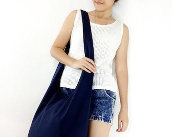 Handbags Canvas Bag Cotton bag Shoulder bag Sling bag Hobo bag Boho bag Messenger bag Tote bag Crossbody bag Purse Dark Navy Blue