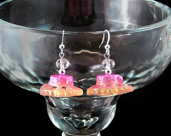 """Dangle Earrings with """"Caterina Hat"""" Shopkins and Swarovski Crystals"""
