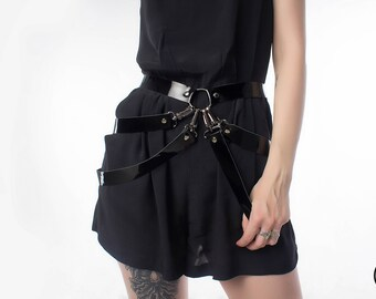 Leather skirt, fetish harness, transformer harness, basque leather skirt, leather harness, Caged Harness Booty Belt, Layered Fashion Harness