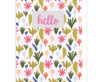 hello cards set of 6 - hello- blank inside greeting cards - hello card boxed set -floral cards